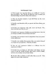 English Worksheet: Autobiography Topics