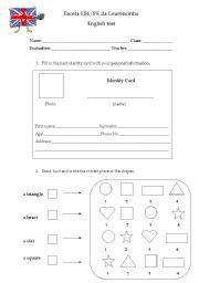 English Worksheet: 2nd grade test