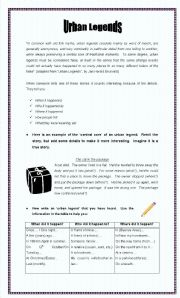 English Worksheets: Urban legends