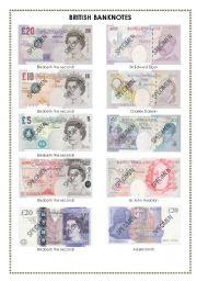 British banknotes - ESL worksheet by faith2
