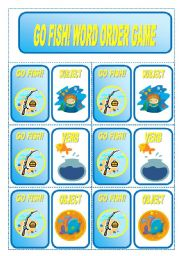 English Worksheet: GO FISH! Word Order Card Game (3 pages)