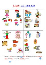 English Worksheet: FOOD  with   LIKES   and   DISLIKES