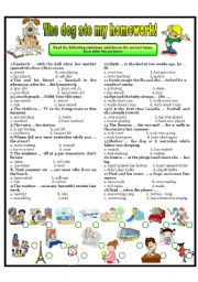 English Worksheet: THE DOG ATE MY HOMEWORK!