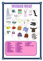 English Worksheet: women wear