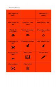 English worksheet: Game cards