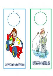 English Worksheets: 6 DIFFERENT DOOR HANGERS FOR BOYS