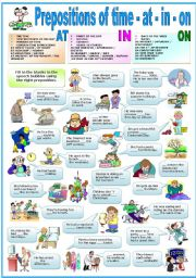English Worksheet: PREPOSITIONS OF TIME - AT-IN-ON