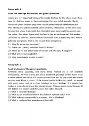 English Worksheets: comprehension passages