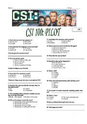 English Worksheet: CSI Las Vegas episode 100-pilot