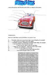 English Worksheet: PARTS OF CARS