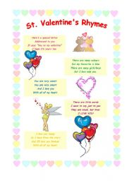 English Worksheet: St. Valentine�s Rhymes