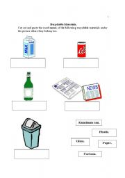 English Worksheets: Recyclable Materials
