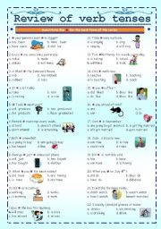 English Worksheet: Review of verb tenses