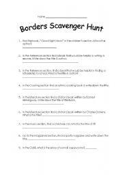 English Worksheets: Border�s book store scavenger hunt