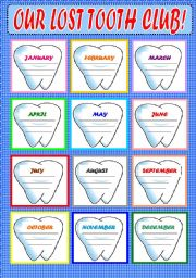 English Worksheets: Our lost  tooth club!!