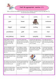English Worksheet: Find the appropriate emotions I