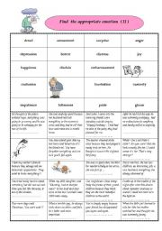 English Worksheet: Find the appropriate emotions II