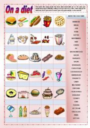 English Worksheet: On a diet - pictionary on food with tasks for elementary and suggested activities for high intermediate