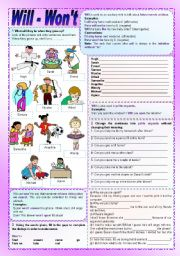 English Worksheet: Will - Won�t - Grammar guide and exercises