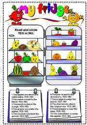English Worksheet: My fridge (fruit)