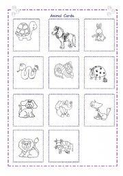 English Worksheets: Animal Cards