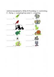 English Worksheets: Animal Movements