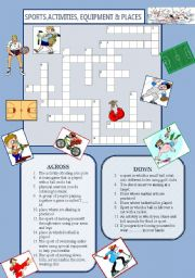 English Worksheet: SPORTS, ACTIVITIES, PLACES & EQUIPMENT
