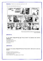 English Worksheets: Calvin and Hobbes and Leona Lewis interview