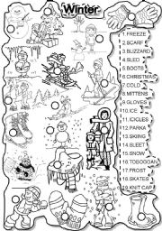 English Worksheets: WINTER MATCH and LETTER TILES WEATHER