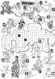 English Worksheet: WINTER CRISS CROSS PUZZLE WEATHER