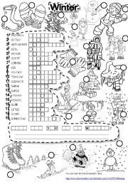 English Worksheets: WINTER PUZZLE and FALLEN PHRASES WEATHER