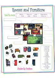 High Quality English Worksheet: Rooms And Furniture (House)