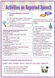 English Worksheet: Activities on reported speech