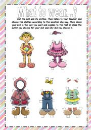 English Worksheet: Learn clothes and weather with the Paper Doll
