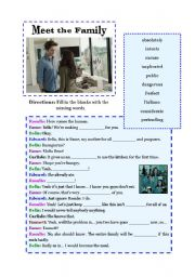 English Worksheet: Meet the Family (fifth 15 minutes of Twilight film)