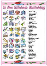 English Teaching Worksheets Kitchen Utensils Equipment