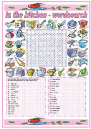 English Worksheet: IN THE KITCHEN - UTENSILS AND APPLIANCES- WORDSEARCH (B&W VERSION INCLUDED)
