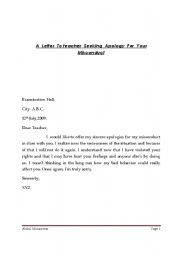 English worksheets Apology Letter To A teacher