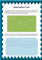 English Worksheets: Guided Writing (1) - Notes