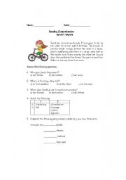 Sarah´s bicycle- Reading comprehension