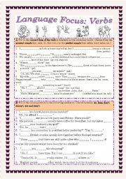 English Worksheets: Verb Tenses and Interrogatives