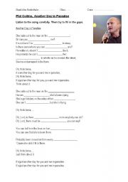 English Worksheets: Another day in Paradise Phil Collins