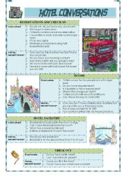 English Worksheet: HOTEL CONVERSATIONS