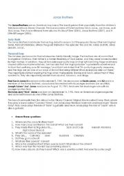 English Worksheets: Jonas Brothers Bio + Questions