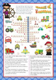 English Worksheet: Means of Transport  Crossword Puzzle for Elementary or Lower Intermediate students
