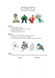 English worksheet: Comics and Superheroes