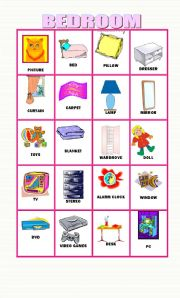 20 flashcards about objects in the bedroom for Bedroom 5 letter words