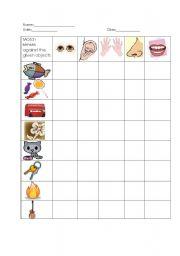 English Worksheets: Match objecta against senses