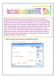 English Worksheets: How to create a worksheet in WORD