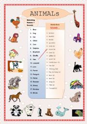English Worksheet: Animals - matching names and sounds